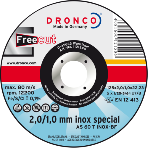 Dronco cutting disc AS 60 T INOX freeCut 125 x 2,0/1,0 x 22,23 mm